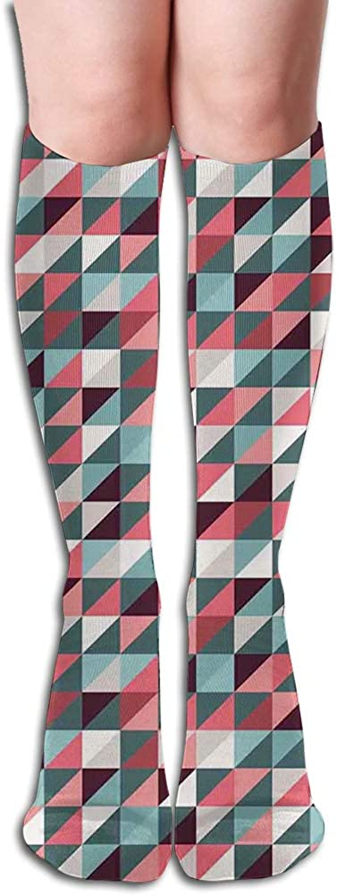 Men's and Women's Funny Casual Combed Cotton Socks,Geometric Colorful Mosaic Pattern with Half Cut Squares Triangles Hipster Design Art
