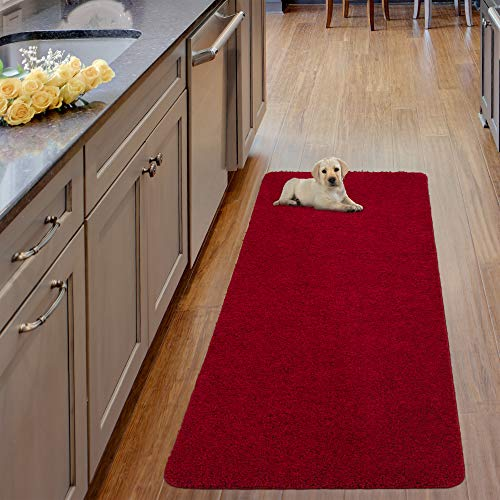 """Ottomanson Luxury Collection Solid Runner Rug with Non-Slip/Rubber-Backing Bath Rug, 20"""" X 59"""", Red"""