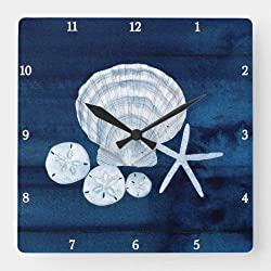 Dwi24isty Classic Wood Clock, Non Ticking Clock Starfish Sea Shells Beach Sand Dollar Blue N White Square Wall Clock 12 Inch Decorative Clock for Kitchen Living Room
