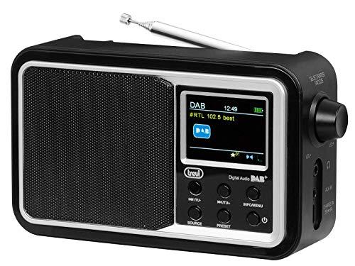 Trevi DAB 7F96 R Tragbares Radio mit DAB/DAB+/FM-Empfänger, 2 Zoll Farbdisplay, Speicherstationen, Bluetooth, AUX-IN, Uhr mit Zwei programmierbaren Weckern, wiederaufladbarer Akku