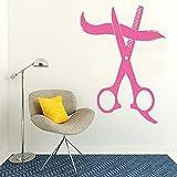Décor à la maison Salon de beauté Grand Ciseaux De Coiffure Salon Vinyle Art Decal Coiffure Amovible Sticker Mural Pour Barbershop Papier Peint ~ 1 43 * 59cm