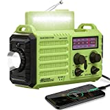 5000mAh Emergency NOAA Weather Radio, Solar Hand Crank Radio Portable AM FM Shortwave, Battery Operated Radio with Flashlight,Reading Lamp,USB Charger,Earbud Jack, SOS Alert for Home Outdoors Survival
