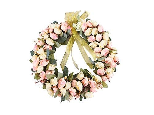 Rose Wreath Silk Flower Head Floral Home Wall Decor 14-inch