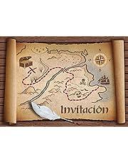 """Edition Colibri 10 Invitaciones en español """"Mapa del Tesoro"""": Juego de 10 Invitaciones para el cumpleaños de niños/as Piratas o bucaneros (10727 ES)"""
