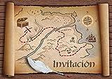 """Edition Colibri 10 Invitaciones en español """"Mapa del Tesoro"""": Juego de 10 Invitaciones para el..."""