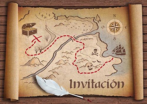 """Edition Colibri 10 Invitaciones en español """"Mapa del Tesoro"""": Juego de 10..."""