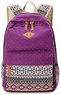 Asdfnfa Korean Women's Travel Backpack Canvas Bag Student Bag (Color : Purple)