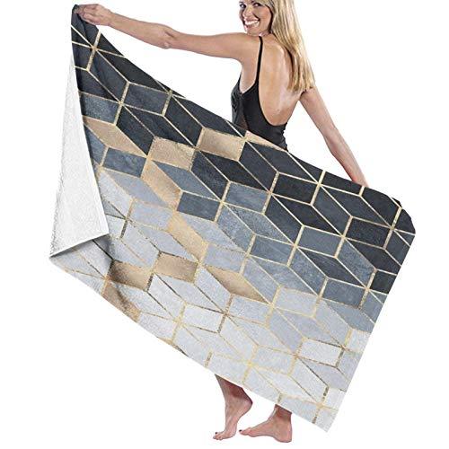 Toallas de baño,Cubo Cubos Abstracto Moderno Azul Oro Geometría Geometría,Manta Suave de Las Toallas de Playa de la Microfibra para el Viaje de la Piscina del baño