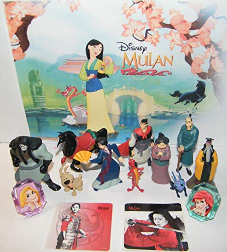 HappiToys Mulan Movie Deluxe Figure Set of 14 Toy Kit with 10 Figures, 2 Stickers andRings Featuring Princess Mulan, Dragon Mushu, Captain Li Shang, The Emperor and More!