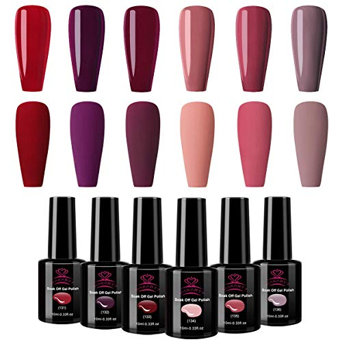 Makartt Gel Nagellack rot Set 6 Farben Burgunderrot Leidenschaft Sommer Led UV Pure Gel Nail Polish für Nagelstudios oder Hausgebrauch mit Geschenbox