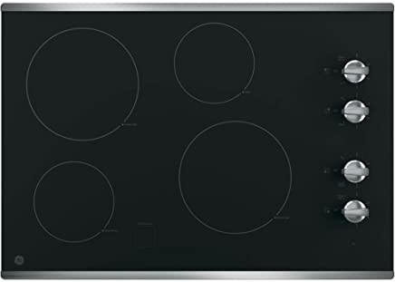 GE JP3030SJSS 30 Inch Smoothtop Electric Cooktop with 4 Radiant Elements, Knob Controls, Keep
