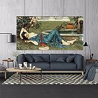 ウィリアムウォーターハウス《甘い夏》キャンバスアート油絵アートワークポスター写真壁の装飾家の居間の装飾80x160cmフレームレス