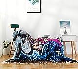 HKI Galaxy Graffiti Blanket Comfort Warmth Soft Cozy Air Conditioning Machine Wash Black and White Rose Skull Fleece Blanket(Throw 60'x80') (Graffiti)