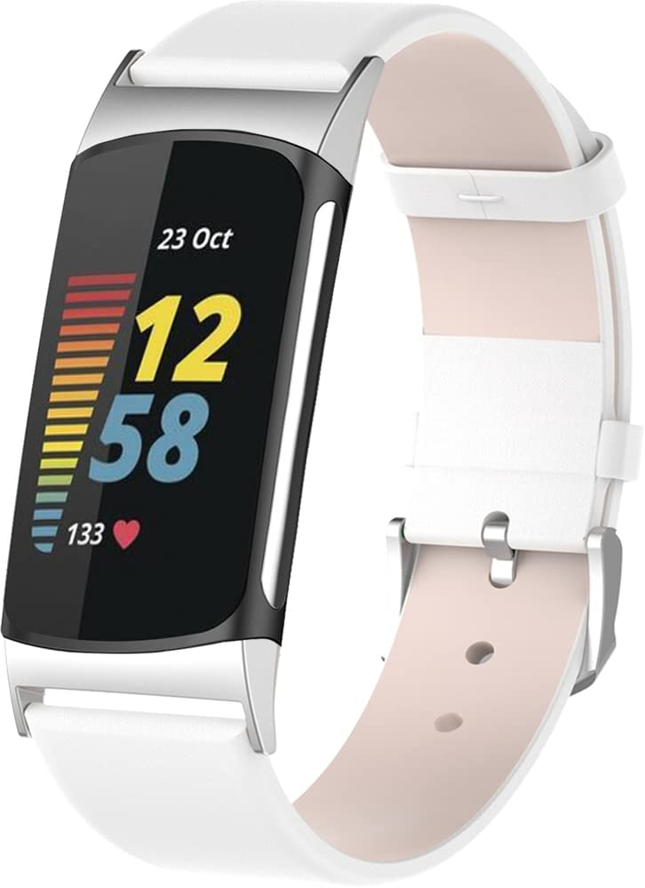 Gransho Watch Strap compatibel met Fitbit Charge 5, Adjustable Soft Leather Replacement Band Wristband with Stainless Steel Buckle