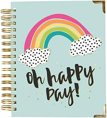 Simple, Carpe Diem 17 Month Weekly Spiral Planner, Calendar, with Stickers, 8 x 8.5 Inch, Oh Happy Day