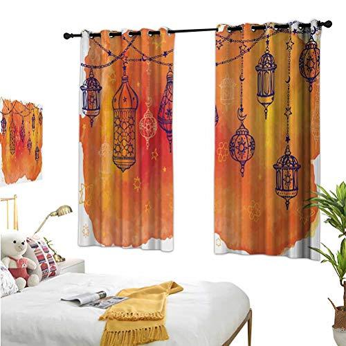 Mozenou Traditional,Window Blackout Curtains,Lanterns Garland Arabesque Middle Theme Oriental Artwork Orange Vermilion Black,Suitable for Any Room scene52x63 Inch