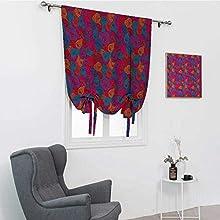 GugeABC Cortinas abstractas romanas, estilo dibujado a mano, espirales, trineos, líneas rizadas, diseño psicodélico, amarre para ventana, multicolor, 48 pulgadas x 64 pulgadas