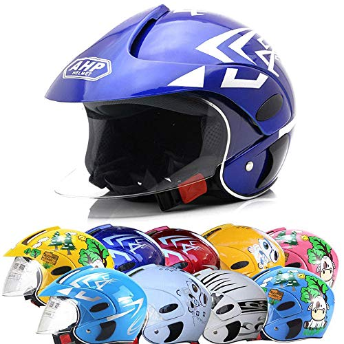ZJRA Motorradhelm Für Kinder, Motorradhalbhelme, Elektromotorrad Four Seasons Moped Jungen Mädchen Kinder Kinder, 10 Farben Stil,Royalbluepattern