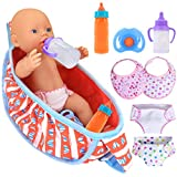 8 Lot Doll Accessories Include 1 Carry Bag, 2 Magic Feeding Bottle, 1 Nipple, 2 Bibs, 2 Diapers for 10-16inch Dolls (No Doll) (Watermelon Red)