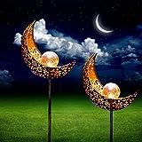 Lot de 2 lampes solaires en forme de lune - Décoration de jardin en extérieur - Lampes solaires à LED - Pour cour, pelouse, allée, clôture de jardin