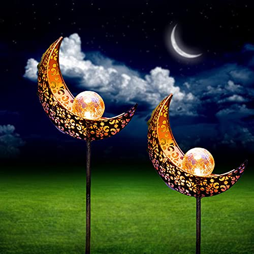 Solarlampen Mond Garten Dekoration Draussen - Solar Moon Stake im Freien Leuchte- LED Gartenstab Wegeleuchte Gartenleuchte Metall Lampe für Hof Rasen Auffahrt Gartenzaun (2...