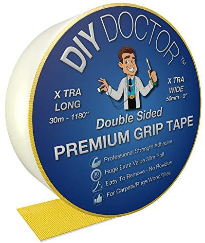 DIY Doctor Besonders starkes, besonders breites doppelseitiges Antirutschband für Teppiche, 30m Rolle, 50mm breit