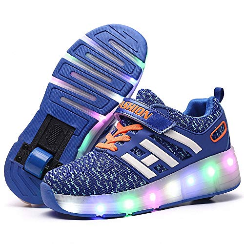 Zapatillas con Ruedas Led Luz Automática de Skate Zapatillas zapatos con ruedas para niños Automática Calzado de Skateboarding Automática Ruedas Ajustables Con carga USB para Niños Niñas,Azul,40