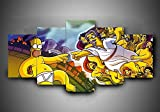 JIONGJIONG Multiple De Lienzo 5 Piezas Lienzo dragón Ball Moderno Cuadro Enmarcado Salón De Hogardecoracion (Enmarcado) Los Simpsons/150 * 80 CM