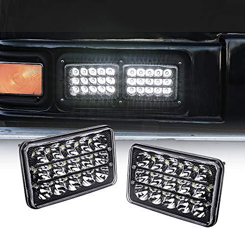 2pc 4x6 LED Headlights [45W] [H4 Socket] [Black-Finish] [High/Low Sealed Beam] H4652 H4666 H6545 H6054 H4651 H4656 4x6 LED Headlight for Peterbilt Kenworth Trucks Ford Van & More