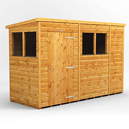 Power Sheds | 10x4 Power Pent Wooden Garden Shed | Size 10 x 4 | Super Fast Delivery or Pick your own day