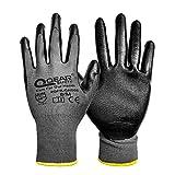 """Confezione da 12 paia di guanti rivestiti in gomma nitrilica, multifunzione, leggeri, buona resistenza all'abrasione, olio/grasso, 9""""/Large, Grigio/nero, 6000"""