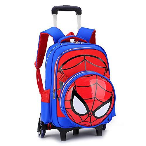 Bag Set Spiderman Imprimé Élémentaire Trolley Sac À Dos École d'enfants Roulant Sac Primaire À roulettes Sac De Livre Sac à Dos Trolley pour Enfants GarçOns Et Filles 5-12 Ans Blue- 6 Wheels