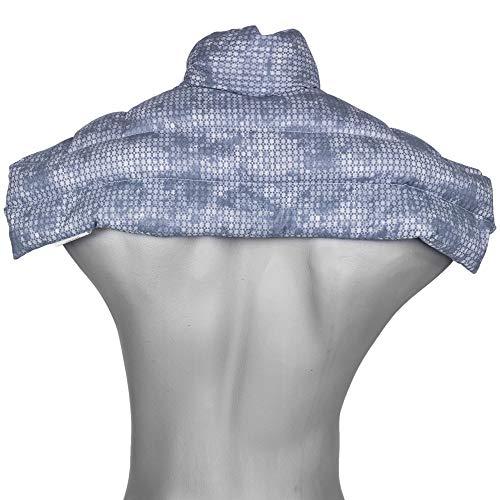 Cojín nuca, espalda superior y hombros con cuello - used look gris azulado - Saco térmico de semillas - Almohada cervical - Semillas de lino