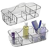 mDesign Set da 2 Portaoggetti bagno in plastica – Porta oggetti spazioso per accessori di vario tipo come trucchi, asciugamani e utensili da cucina – Portatrucchi capiente con manico – grigio fumo