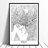 Leinwanddruck,Oslo Schwarz Weiß Benutzerdefinierte Welt
