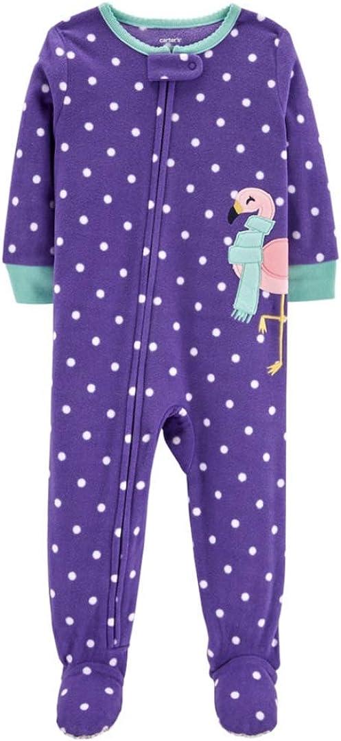 Baby Girl Carter's Polka-Dot Microfleece Footed Pajamas - 24 Months Purple