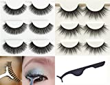 Wehous 6 Pairs 2 styles Multipack Luxurious 3D Natural Cross Super Long and Thick Fake Black Eyelashes Eye Lashes Makeup with Clip Tweezer