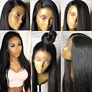 KRN Hair 8A Brazilian Remy Virgin Hair Full Lace Wigs Straight Human Hair Glueless Lace Front Wigs for Black Women Full Lace Human Hair Wigs with Baby Hair (20 inch with 130%, Lace Front Wig)