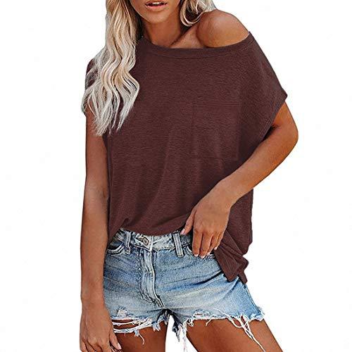 Top donna con spalle scoperte maglietta maglione casual manica corta camicetta tunica top camicia manica lunga top uno tinta unita sexy casual basic ragazze adolescenti camicia donna camicetta tunica