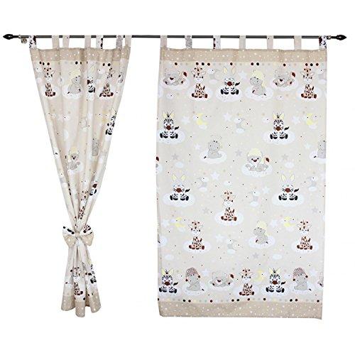 TupTam Kinderzimmer Vorhäng mit Schleifen 2er Set, Farbe: Baby Tiere Beige, Größe: ca. 155x95 cm
