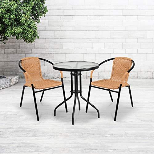 Flash Furniture 2 Pack Beige Rattan Indoor-Outdoor Restaurant Stack Chair