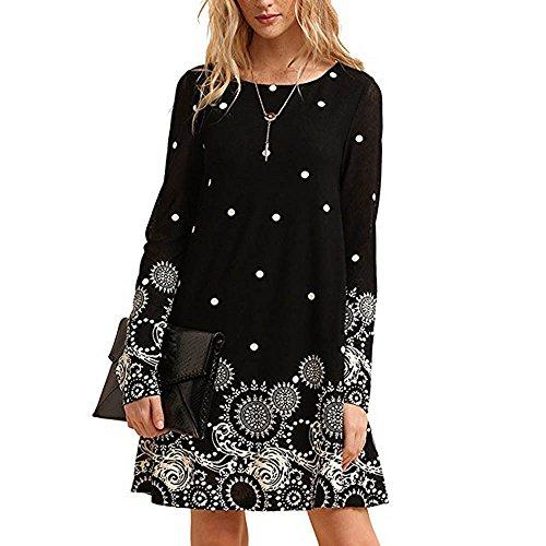 MRULIC Damen Neue Elegante Chinesische Art Kleid Kostüm 3/4 Ärmel Lässig Fließenden Print Swing T-Shirt Tunika Kleid(X-Schwarz,EU-42/CN-XL)