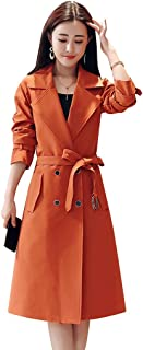 Womens Trench Coat Trench Coat Ladies, Long Over-The-Knee Coat in Autumn and Winter, Women's New Elegant Temperament Slim Coat, Lapels Design, Office (Color : Orange, Size : XXXXL)