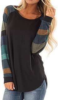YOMXL Women T-Shirt,Fashion Color Block Long Sleeve O-Neck Blouses Casual Patchwork Tunic Tops Raglan Sports Sweatshirts Tee Shirt