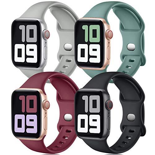 JUVEL Correa Compatible con Apple Watch Correa 40mm 38mm, Correas Deportivas de Silicona de Recambio Compatibles con iWatch Series 6/5/4/3/2/1/SE, 40mm/38mm S/M, Negro/Rojo/Gris/Verde Pino