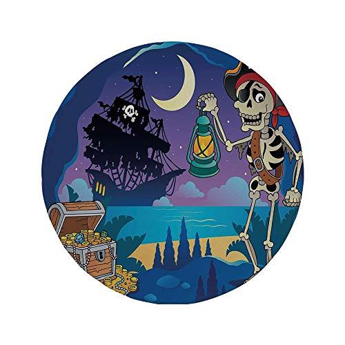 Rutschfreies Gummi-rundes Mauspad Pirat gefundene Schatztruhe in Cave Mystery Hideout-Pirat mit Laterne Segelschiff Mond dekorativ mehrfarbig 7.9
