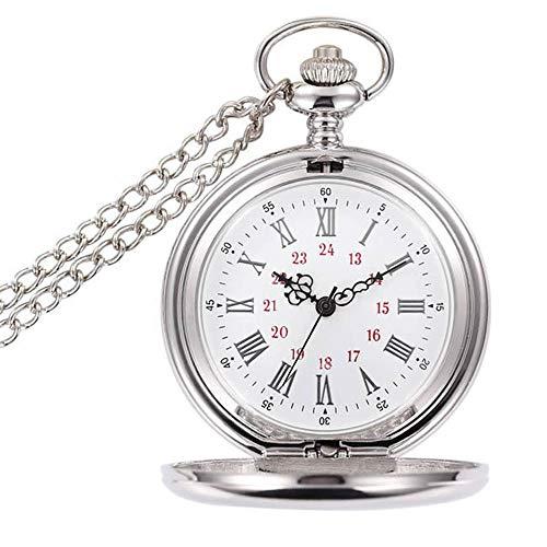 Reloj de bolsillo de cuarzo, estilo clásico, con cadena corta, para hombres, mujeres, cumpleaños, aniversario, Navidad, Día del Padre, regalo
