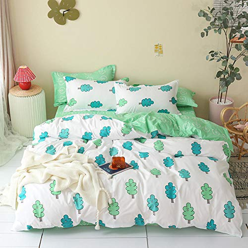 Wzhfsq Fxirza Duvet Cover White Simple Leaves 135 * 200Cm 3D Three-Piece Bedding Set,Adult Children Household Quilt Cover, Polyester Fiber,Duvet Cover+Pillowcase