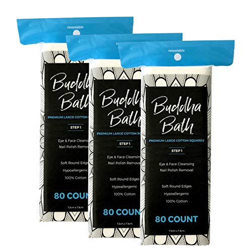 BUDDHA BATH Premium Thick All Natural Pure Cotton Squares - Hypoallergenic - No Fillers - Lint Free - Eye & Face Makeup Remover Pad - Microblading - All Skin Needs (240 Count) Step 1