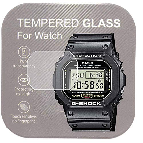 [2-Pcs] For Casio DW-5600 Watch Screen Protector,2.5D Rounded Edges 9H Premium Real Tempered Glass Screen Protector Anti Scratch,Anti-fingerprint Bubble-free DW5600E-1V